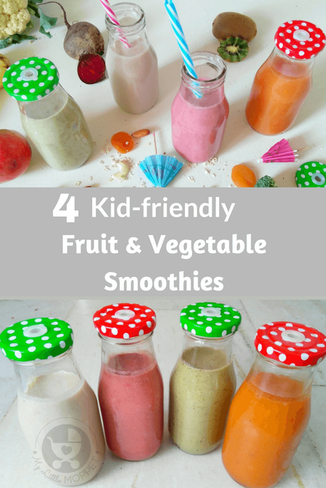 Boost your little one's nutrient intake with these healthy kid-friendly fruit and vegetable smoothies - made from kiwi, papaya, carrot and more!