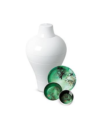 White Ming Vase / Stackable Bowls