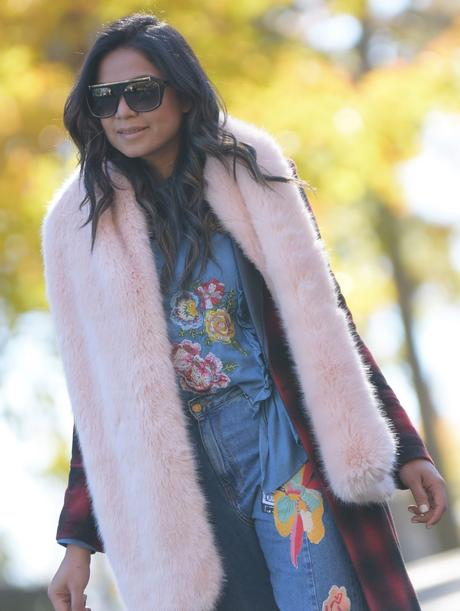 denim on denim, floral embroidered jeans, frill jeans outfit, plaid coat outfit, red coat, casula look, style, street style, winter, colorblock pumps, metallic bag, myriad musings