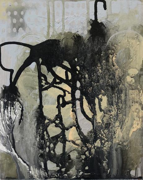 Boston Artist Alexa Fleisher B&W Abstract Painting