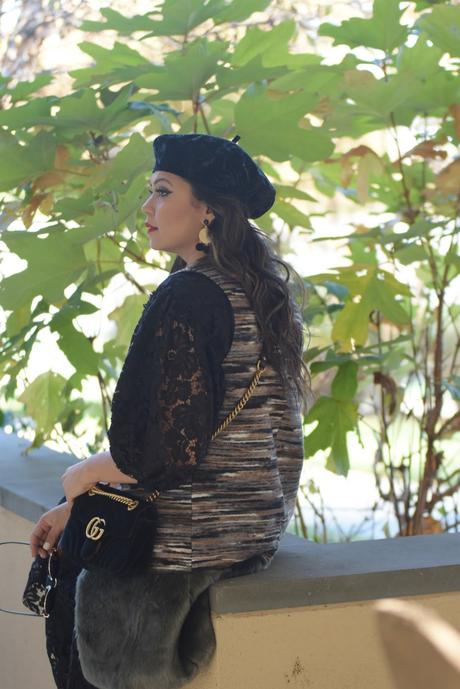 how to wear a black lace zara jumpsuit, patent black leather brogues, shiny, fall, winter fashion, street style, gur gilet, fashion, beret velvet, myriad musings