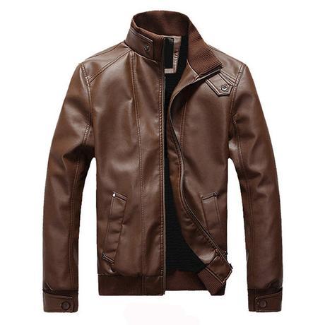 brown men's suede jacket