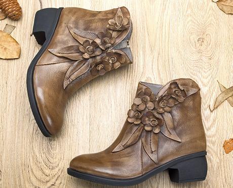 Socofy vintage floral boots