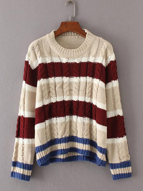 contrast color winter sweater for women