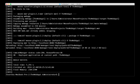 Deploy a web application from the command line by using Tomcat Maven Plugin
