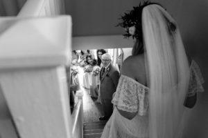 Villa farm wedding photography bride's dad sees her for the first time