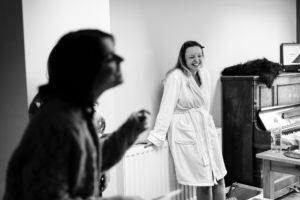 Villa farm wedding photography  bride prep laughing