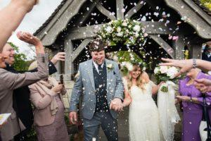 Villa farm wedding photography explosive confetti