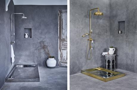 For Hollywood glam you can't beat a polished brass shower tray - don't fancy the job of keeping it shiny though!