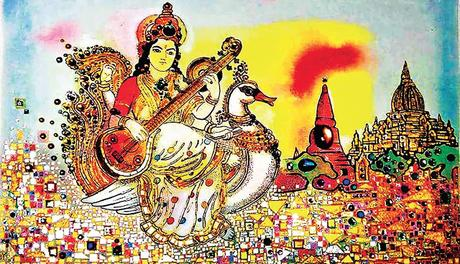 paintings of Goddess Lakshmi and others by Olaf Van Cleef