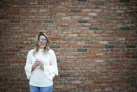 Winter style; ruffle sleeve sweater