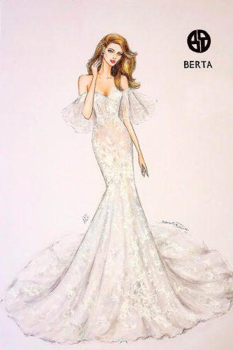 bridal illustrations mermaid off the shoulder sweetheart neckline berta 4