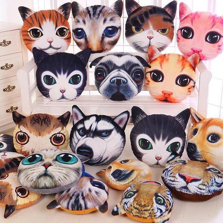 funny 3D cat head pillows