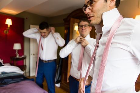 York & Albany Wedding Photography groom pink ties