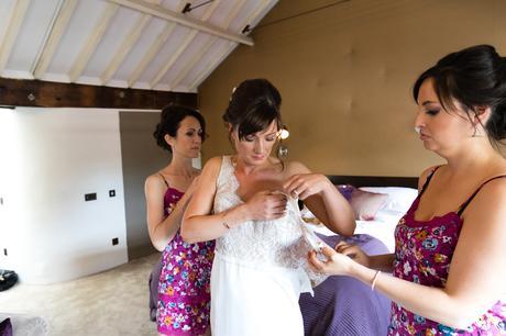 York & Albany Wedding Photography bride into dress