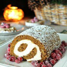 Pumpkin Roll with Cream Cheese Filling and Sugared Cranberries