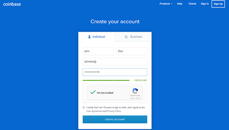 coinbase login page