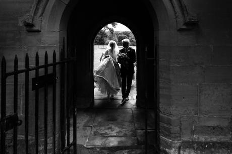 York Wedding Photographers bride walks into wedding venue
