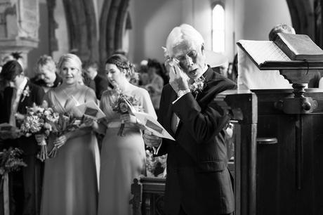 York Wedding Photographers father wipes away tears