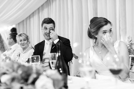 York Wedding photographers couple crying during speeches