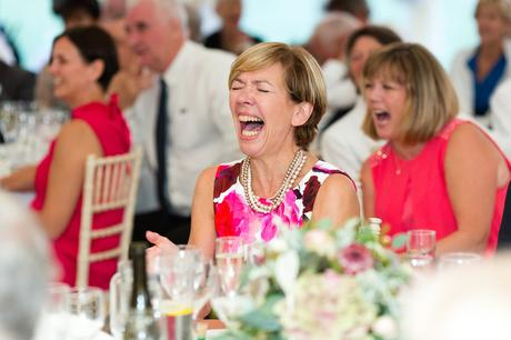 York Wedding photographers guest laughing during speeches