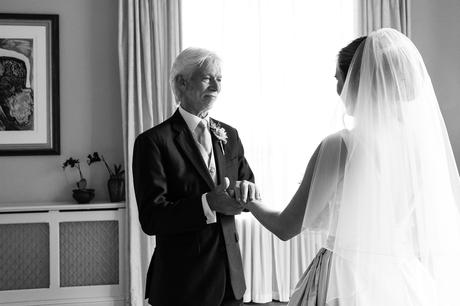 York Wedding Photographers dad holds brides hand