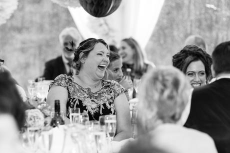 York Wedding photographers guest laughing