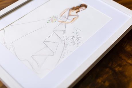 Signed Ian Stuart sketch of wedding dress