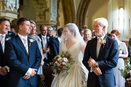 York Wedding Photographers bride looking at groom ceremony