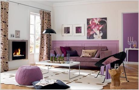 purple theme colored living room design