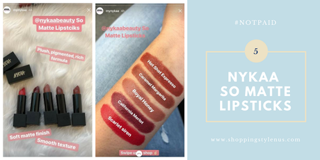 5 Nukaa So Matte Lipsticks Swatches - Hot Shot Expresso, Caramel Margarita, Royal Honey, California Merlot, Scarlet Siren