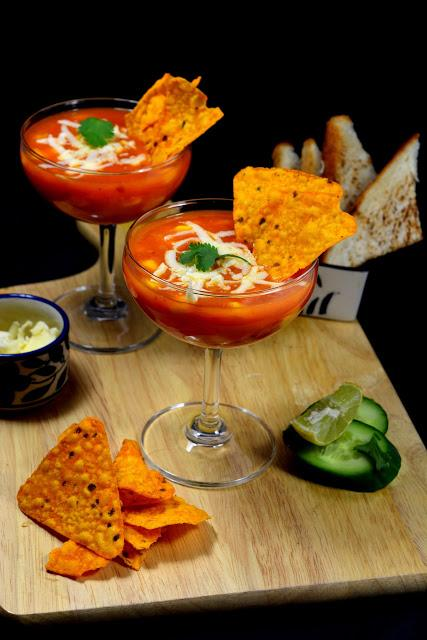 Mexican Tomato Soup with Nachos | Mexican Soup Recipe