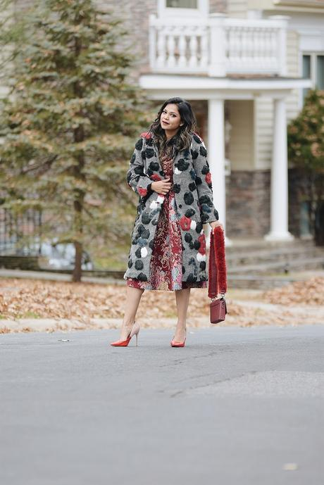 statement fur coat, brocade pink dress, faux fur coat gabrielle union, fashion, winter look, street style, blogger , myriad musings