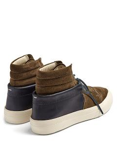 Stir-upped High-Top:  Maison Margiela Contrast-panel High-top Suede Trainers