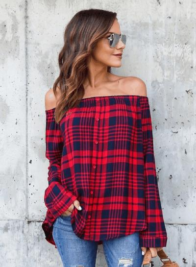 Off Shoulder Long Sleeve Button Down Plaid Shirt