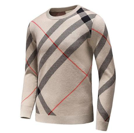 Mens plaid pullover cardigan Christmas wollen sweater winter mens cashmere warm plaid winter coat knitted sweater men D25