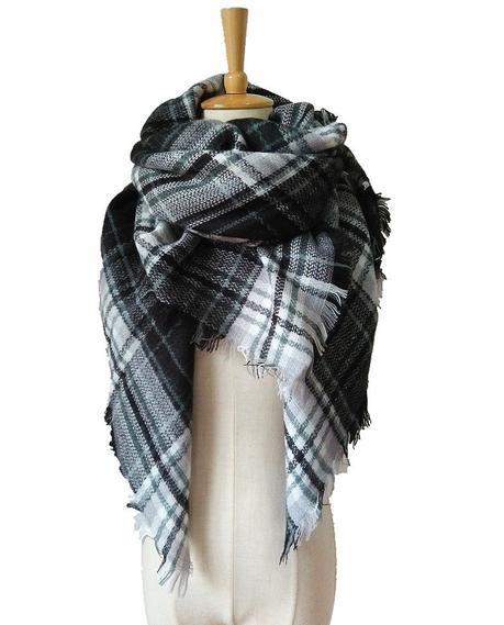 Women's Cozy Plaid Blanket Scarf Warm Cashmere Tartan Wrap Shawl Square Scarves