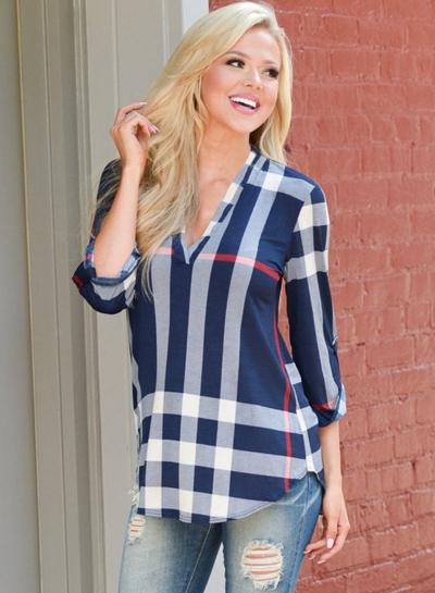 Casual V-Neck Plaid Pattern Blouse