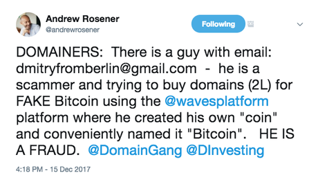 "Alert: Domainers be Wary of ""Bitcoin"" Scammers"