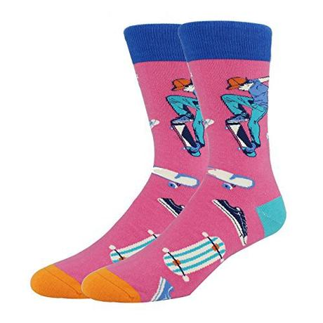 Mens Pink Color Funny Cotton Cool Fun Crew Novelty Socks