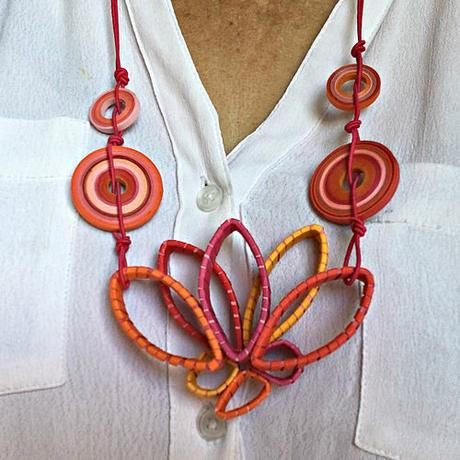 Quilled Lotus Blossom Paper Necklace by Licia Politis