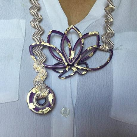 Quilled Lotus Blossom Paper Necklace in Purple and Gold by Licia Politis
