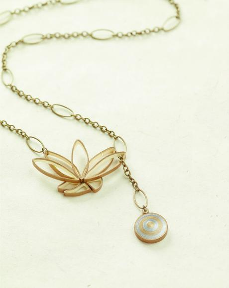 Lotus Blossom Lariat Paper Necklace from The Art of Quilling Paper Jewelry