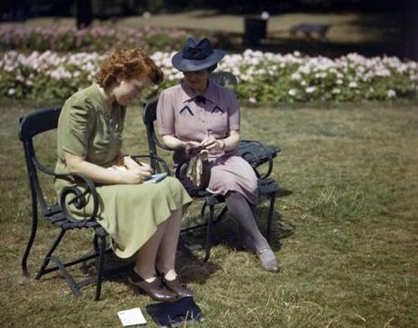 Two-women,-responding-to-the-'Holidays-at-Home'-campaign,-writing-post-cards-in-Hyde-Park,-London