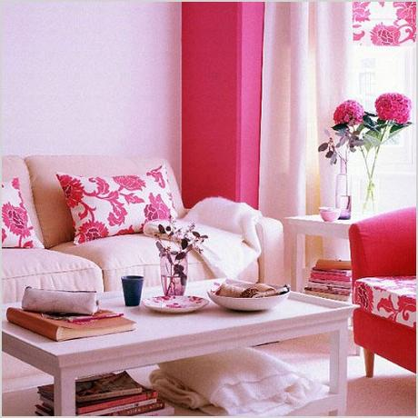 bright livig room in white and pink 1010
