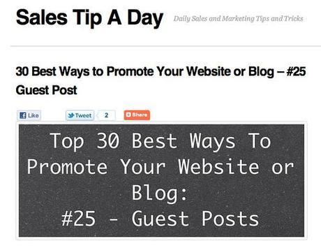 30 Best Ways to Promote Your Website or Blog - #25 Guest Post | Sales Tip A Day