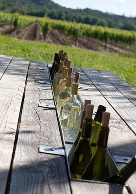 Wine cooler idea for a picnic table