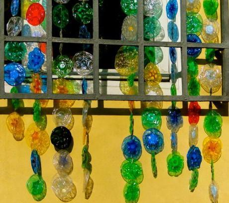 Rain chain made from recycled bottles