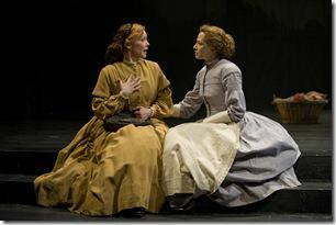 (left to right) Mattie Jameson (ensemble member Mariann Mayberry) laments the effect of war on her family to Emily Thompson (Carrie Coon) in Steppenwolf Theatre Company's world-premiere production of The March, based on the novel by E.L. Doctorow, adapted and directed by ensemble member Frank Galati. The March runs April 5 – June 10, 2012 in Steppenwolf's Downstairs Theatre (1650 N Halsted St).