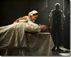 (left) Pearl (Shannon Matesky) grieves the loss of her father, (bottom) John Jameson (ensemble member Alan Wilder) and declares her freedom, as Dr. Wrede Sartorius (Philip R. Smith) looks on in Steppenwolf Theatre Company's world-premiere production of The March, based on the novel by E.L. Doctorow, adapted and directed by ensemble member Frank Galati. The March runs April 5 – June 10, 2012 in Steppenwolf's Downstairs Theatre (1650 N Halsted St).